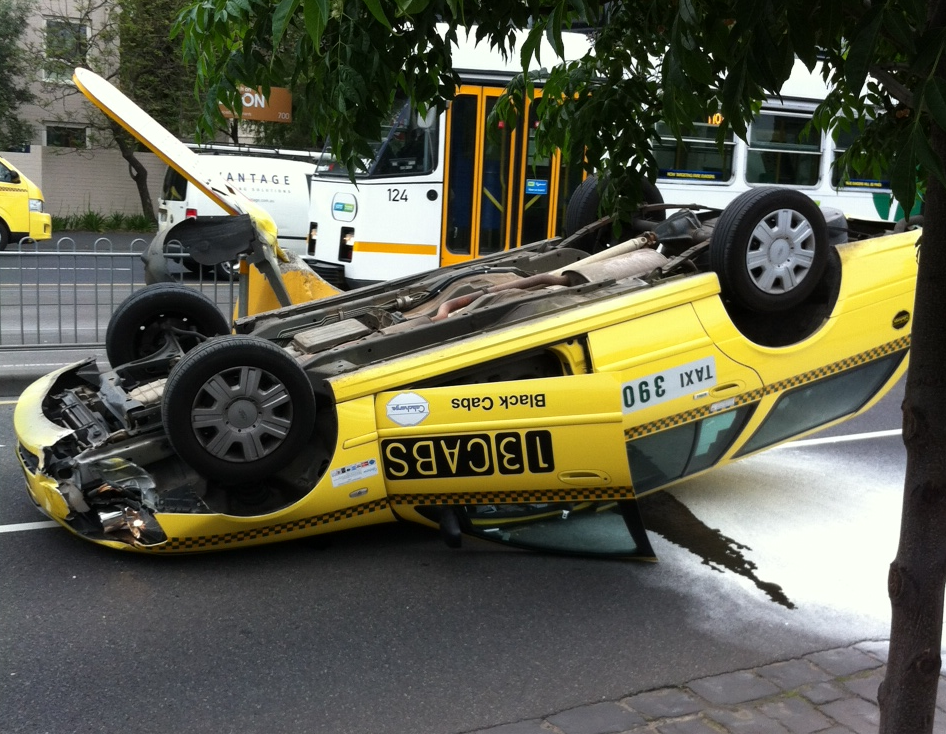 Overturned Taxi